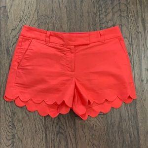 J. Crew Coral Scallop Shorts